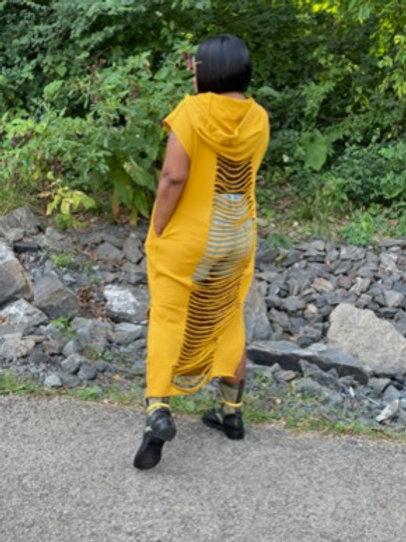 Hooded Distressed Sweat Dress (Mustard)