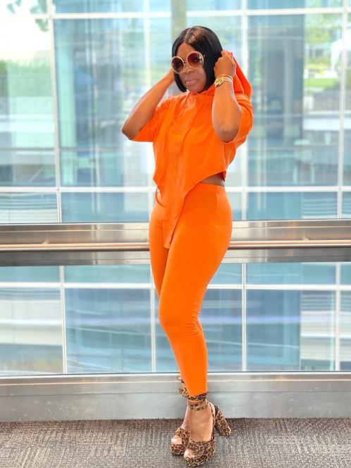 """Vee"" 2 Piece Hooded Legging Set (Orange)"