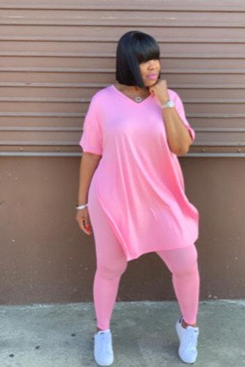 2 Piece Side Slit Leggings Set (Pink)