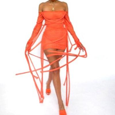 """Mesh """"Insane"""" Off The Shoulder Mini Dress (Orange)"""