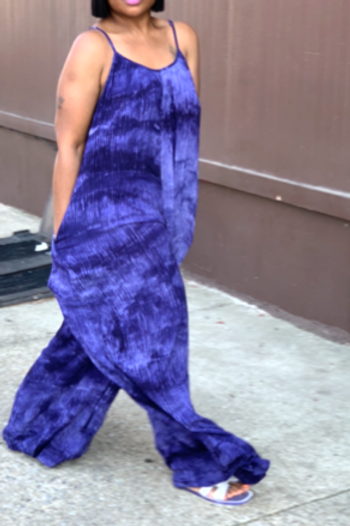 """RiRi"" Wide Leg Jumpsuit (Blue)"