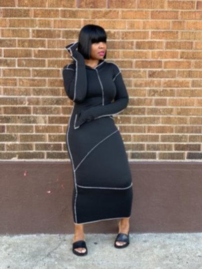 """""""Remi"""" Hooded Midi Dress (Black)"""