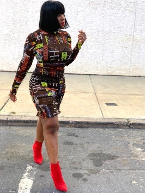 """Mesh """"Graffiti"""" Dress"""