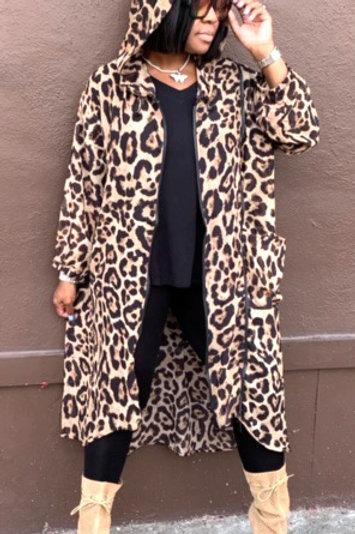 Cheetah Hooded Zipped Kimono