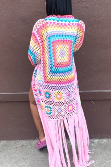 Crochet Fringed Duster (Pink)