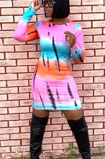 Long Sleeve Tie Dye Mini Dress