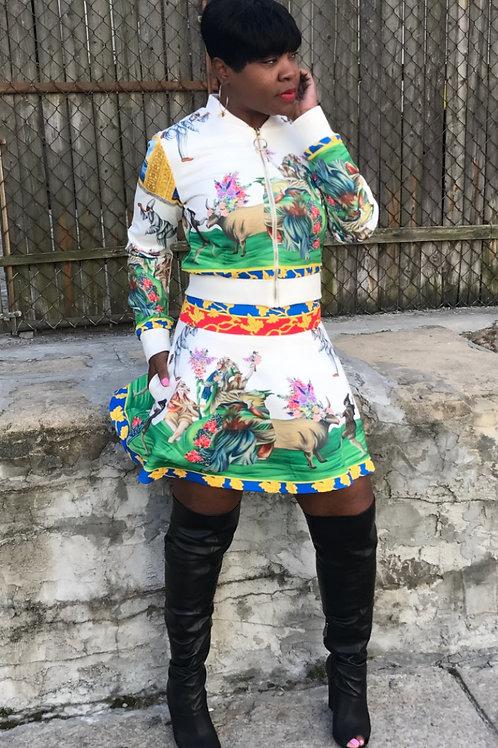 Two-piece Korean Skirt Set w/Pockets