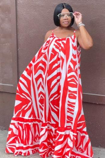 Tribal Maxi Dress (Orange/White)