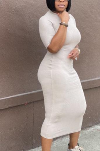 Ribbed Midi Dress (Khaki)