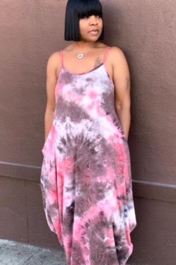 """Tie Dye"" Oversized Maxi Dress (Pink/Brown)"