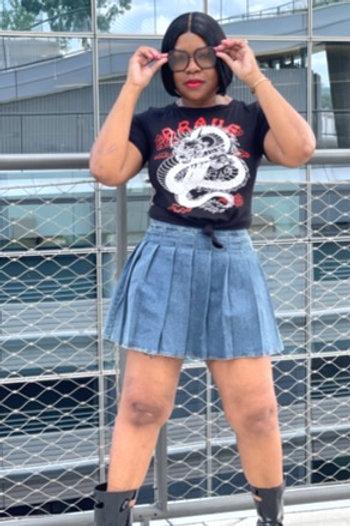 Denim Tennis Mini Skirt/Skort