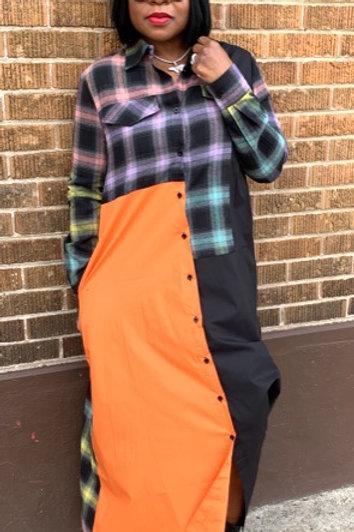 Flannel Dress (Orange)