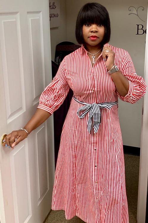 Red/White - Candy Stripe Dress