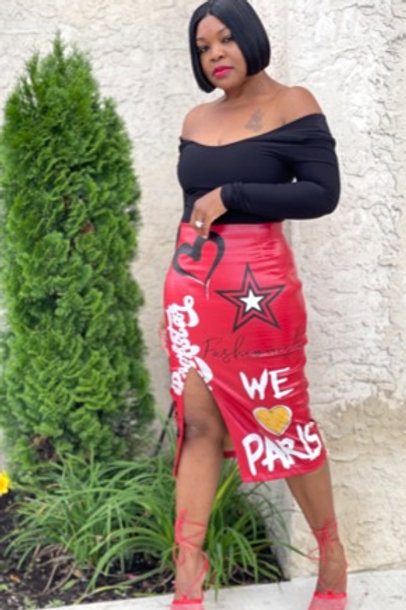 """Graffiti Gal"" Midi Skirt (Red)"