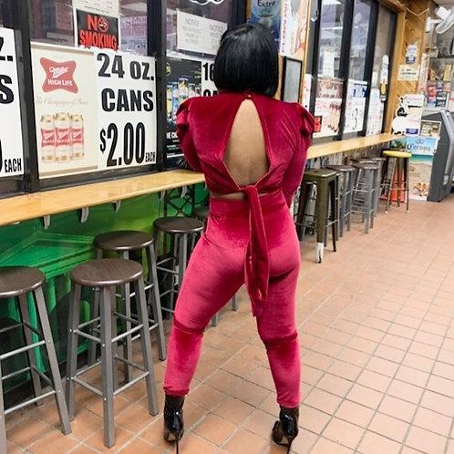 Cranberry Carrie - Two-Piece -Velvet Pants Set