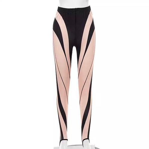 """""""Swirl Me"""" Stirrup Leggings (Pink/Black)"""