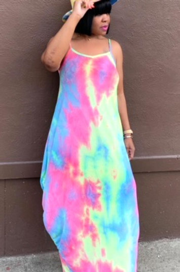 Oversized Tie Dye Maxi Dress (Pink)