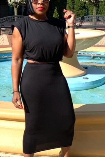 2 Piece High Waisted Skirt Set (Black)