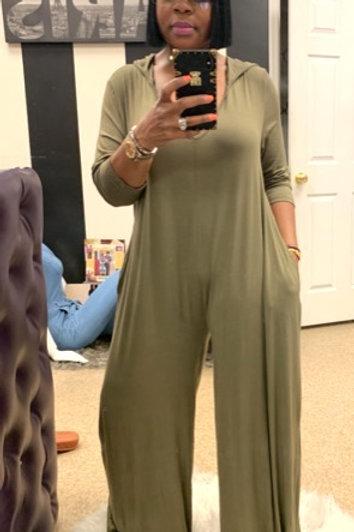 Hooded Oversized Jumpsuit (Olive)