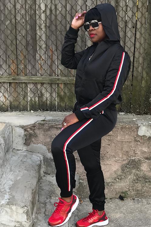 Black - Side Stripe Hooded Tracksuit