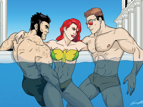 Wolverine, Jean Grey, and Cyclops from Marvel's X-Men