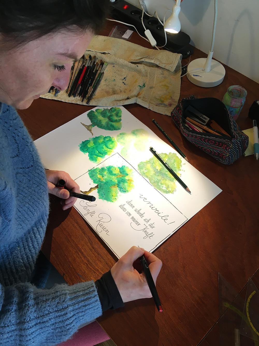 zeichnen und schreiben mit Spass, ohne Druck seine Kreativität fliessen lassen