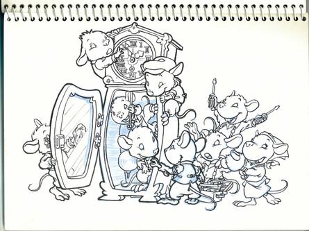 Ratones 11. Boceto entintado para libro infantil