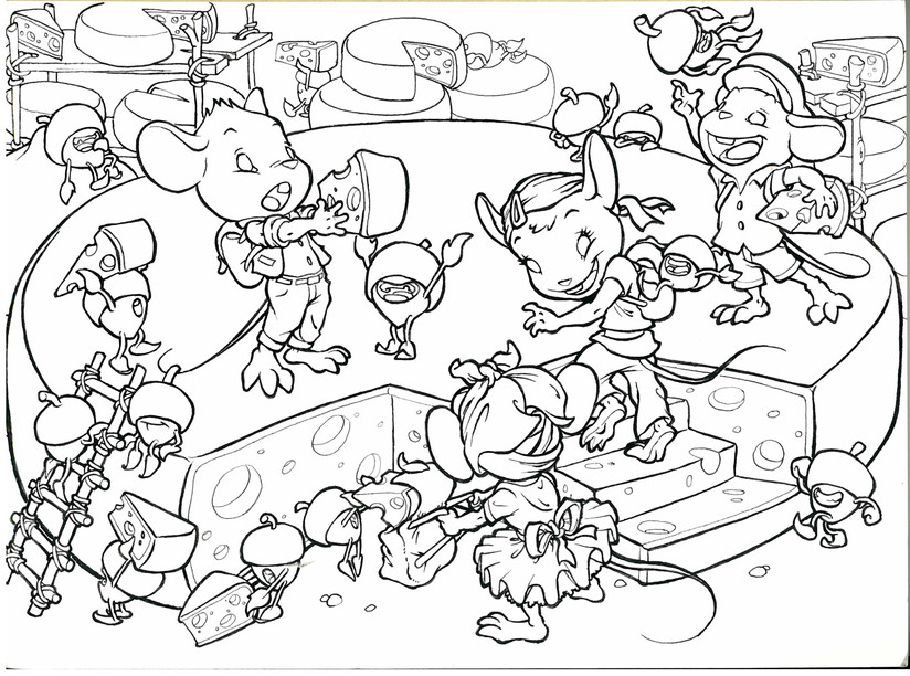 Ratones 7. Boceto entintado para libro infantil