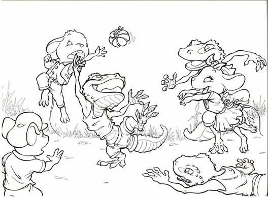 Ratones 10. Boceto entintado para libro infantil
