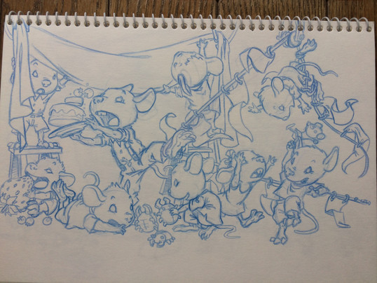 Ratones 1. Boceto para libro infantil