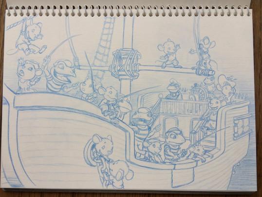 Ratones 6. Boceto para libro infantil