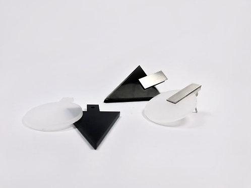 Peças de acrílico - Brinco 3 em 1 preto+opaco