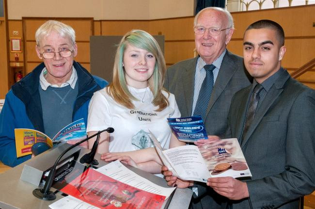 Dudley College visitors David Barratt and Bryan Richens with students Charlotte Stubbs and Umar Arshid