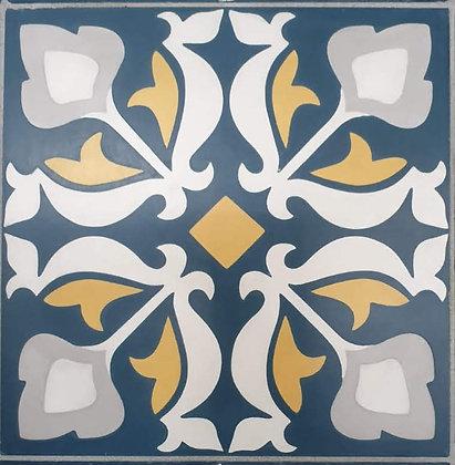 Encaustic - Navy & Mustard cement tile
