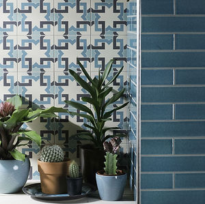 Original Style Winchester Elements blue metro tile graphite patterned porcelain crackle glaze