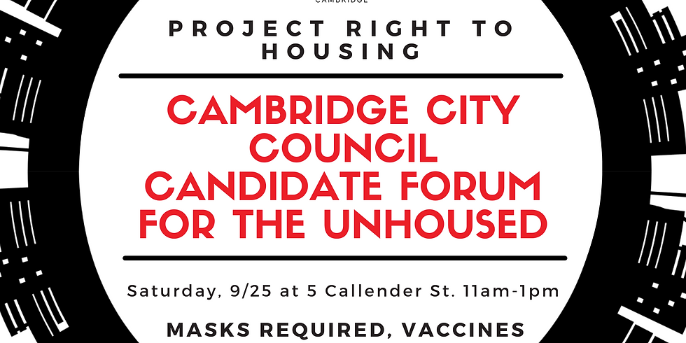 Cambridge City Council Candidate Forum for the Unhoused