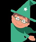 Merlin le magicien des menus avec des lunettes