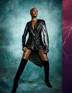 NECKLACE -THIERRY MUGLER ARCHIVE  BLACK COCKTAIL DRESS - UNTTLD BLACK SUEDE THIGH HIGH - SAINT LAURENT  Photograph:@carllessardphotographe Fashion Editor & Fashion Stylist :@joelle_eugenie_ Model :@evangeli_anteros Hair & MUA :@emiliemahglam