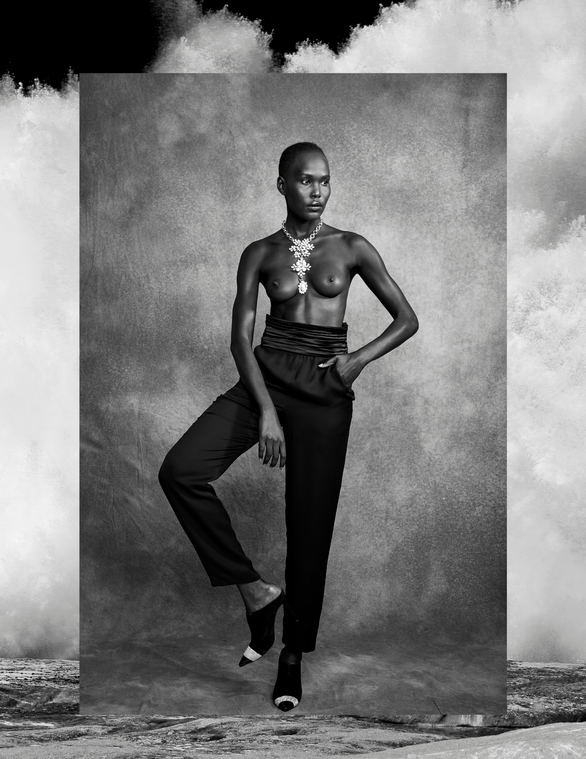 BLACK PALAZZO SILK TROUSERS WITH SATIN BELT - CHANEL NECKLACE WITH PEARLS AND DIAMONDS - CHANEL BLACK SUEDE MULE WITH RINGSTONES - MOLY   Photograph:@carllessardphotographe Fashion Editor & Fashion Stylist :@joelle_eugenie_ Model :@evangeli_anteros Hair & MUA :@emiliemahglam