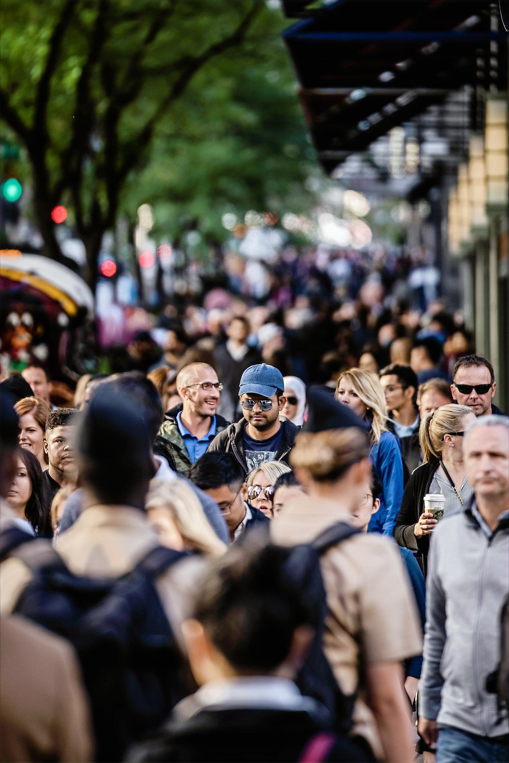 A picture of a crowded street, showing how society is affected by movements such as an increase in lack of empathy.
