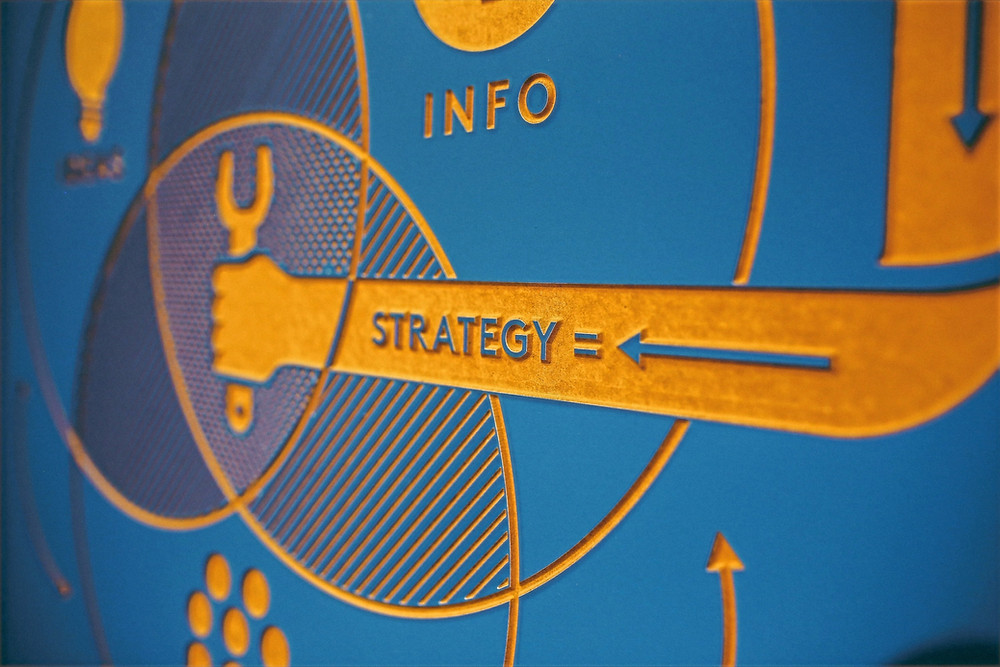 A icon displays a ven diagram that is at the center of an a SEO key word strategy.