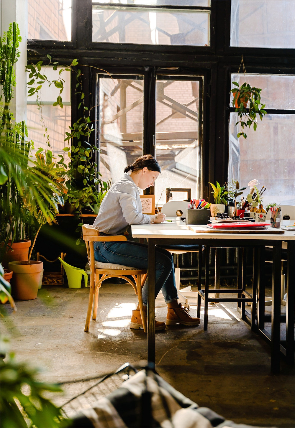 A writer works diligently at a desk alone in the middle of a sun-lit room decorated with plants.