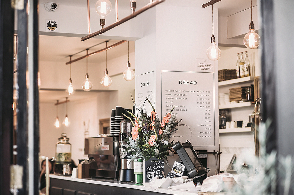 Clean and petite interior of a local cafe.