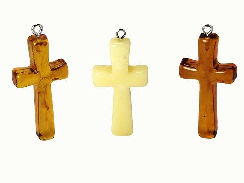 Подвеска Крест из янтаря