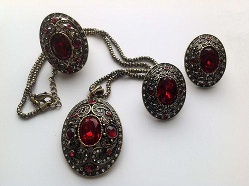 комплект бижутерия красный кристалл