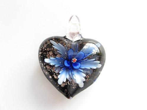 """Кулон сердце из муранского стекла """"Маргаритка"""""""