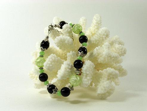 Браслет из агата и зеленого кварца