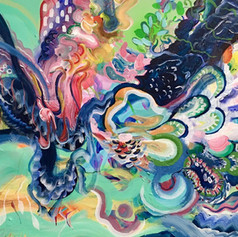 Co-painting with Inka Hannula. Acrylic on canvas, 68 x 93, 2020.