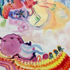 Co-painting with Inka Hannula. Acrylic on canvas, 93 x 86, 2021.