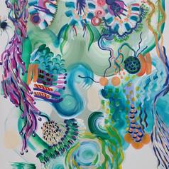 Co-painting with Inka Hannula. Acrylic on canvas, 90 x 90, 2020.